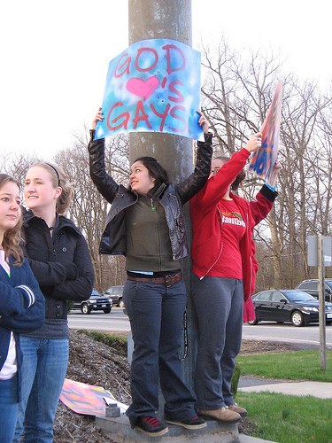Counter-protesters lined the sidewalks while Westboro Baptist Church visited George Mason University.